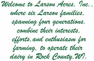 Larson Families with Welcome message